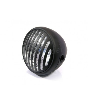 "FLAT BLACK HEADLIGHT CAGE PUNK  7.7"" 190 MM FOR CAFE RACER MOTORCYCLE"