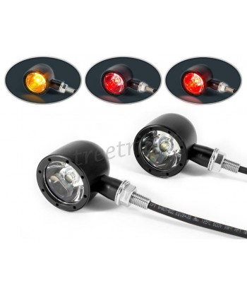 INTEGRATED CREE LED TURN SIGNALS/TAILLIGHT BLACK FOR CAFE RACER SCRAMBLER MOTORCYCLE