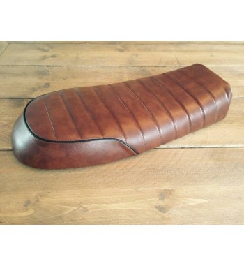 BROWN SEAT LEATHER VINTAGE BROWN BRAT STYLE 36 UNIVERSAL MOTORCYCLE CAFE RACER