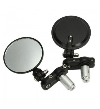"""FOLDABLE MIRRORS ROUND BLACK 3"""" FOR HANDLEBAR 22 MM. CAFE RACER MOTORCYCLE"""