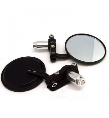 """MIRRORS ROUND BLACK 3"""" FOR HANDLEBAR 22 MM. CAFE RACER MOTORCYCLE"""
