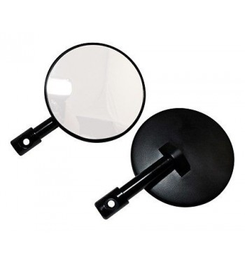 MIRRORS ROUND BLACK 100 MM DIA EU APPROVED FOR END HANDLEBAR 22 MM. CAFE RACER MOTORCYCLE