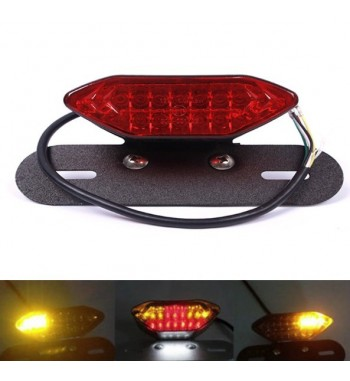 LED TAIL LIGHT BLACK AND RED LENS WITH INTEGRATED TURN SIGNAL FOR MOTORCYCLE VINTAGE CAFE RACER