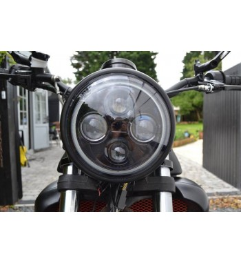 "HEADLIGHT FLAT BLACK LED PREMIUM PROJECT RING EU APPROVED 7.7"" 190 MM FOR CAFE RACER MOTORCYCLE"
