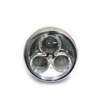 """LED HEADLIGHT CYCLOPS 6.75"""" 160 MM CHROME FOR CAFE RACER MOTORCYCLE"""