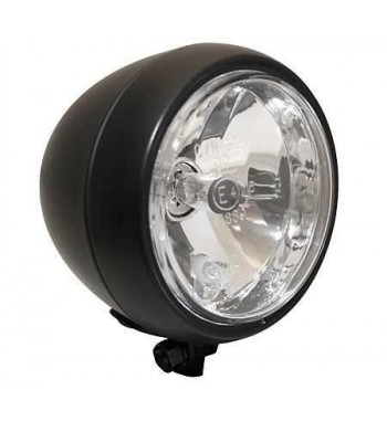 """HEADLIGHT BLACK OLD SCHOOL 5"""" 130 MM EU APPROVED FOR CAFE RACER MOTORCYCLE"""