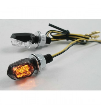 LENS TURN SIGNAL BLACK LED CLEAR EU APPROVED STYLE 3 FOR CAFE RACER MOTORCYCLE