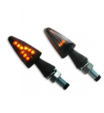 LENS TURN SIGNAL BLACK LED SMOKED EU APPROVED STYLE 13 FOR CAFE RACER MOTORCYCLE