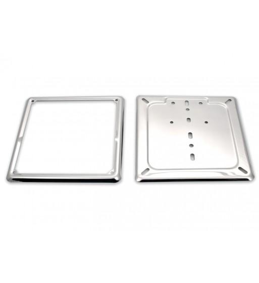 Piastra base porta targa in acciaio inox cromato con cornice per moto - Piastra in acciaio inox per cucinare ...