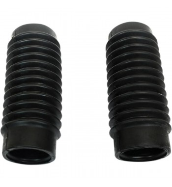 UNIVERSAL MOTORCYCLE BOOTS BLACK FORK TUBE COVER 12T 49-54 MM CAFE RACER