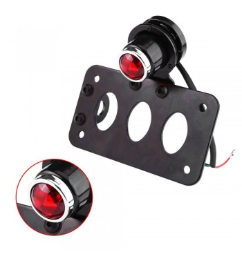 BLACK SUPPORT SIDE MOUNT KIT LICENSE PLATE AND LUCAS TAIL LIGHT FOR CAFE RACER SCRAMBLER MOTORCYCLE