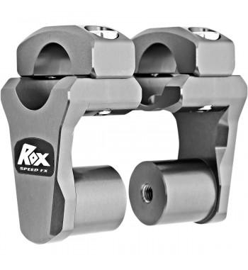 """ROX PIVOTING HANDLEBAR RISERS ALUMINIUM GUN METAL GREY 2"""" FOR HONDA CTX 700 2014-2017"""