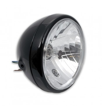 """FARO FANALE ANTERIORE 7.5"""" 190 MM NERO BULLET STYLE CLEAR MOTO CAFE RACER"""