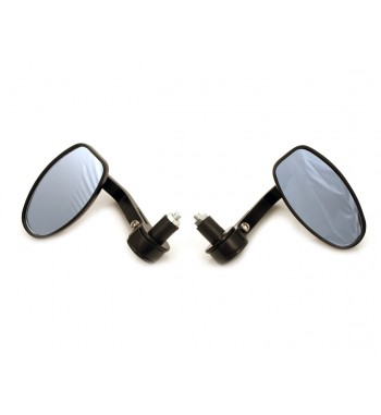 MIRRORS OVAL BLACK DE LUXE FOR BAR END 22 MM. CAFE RACER MOTORCYCLE