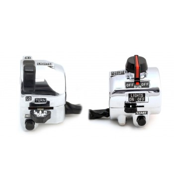 BLOCKS HANDLEBAR SWITCHES COMPLETE IN ALUMINUM VINTAGE STYLE 2 CHROME FOR 22 MM MOTORCYCLE