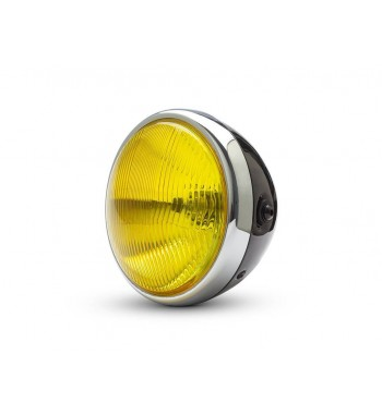 "CHOME/BLACK HEADLIGHT 7,6"" - 193 MM WITH YELLOW LENS FOR CAFE RACER MOTORCYCLE"
