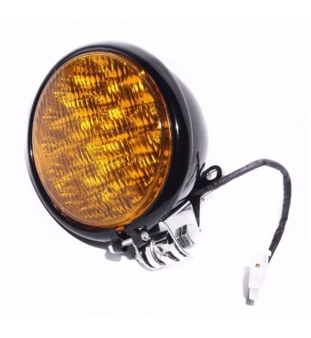 "BLACK HEADLIGHT 5"" - 130 MM LED WITH YELLOW LENS FOR CAFE RACER MOTORCYCLE"