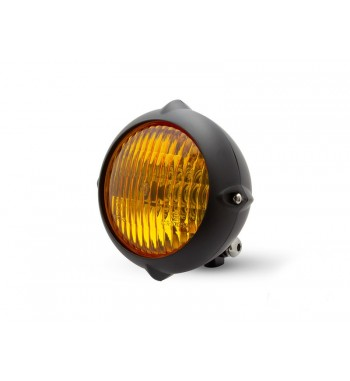 "BLACK HEADLIGHT 5.5"" - 140 MM VINTAGE LED WITH YELLOW LENS FOR CAFE RACER MOTORCYCLE"