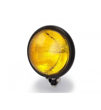 "BLACK HEADLIGHT 5.75"" - 145 MM VINTAGE WITH YELLOW LENS FOR CAFE RACER MOTORCYCLE"
