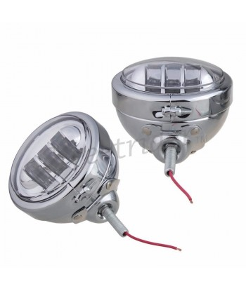 CHROME UNIVERSAL LED SPOTLIGHTS EU APPROVED 120 MM FOR CAFE RACER MOTORCYCLE