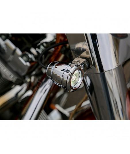 "MINI CIRCULAR HEADLIGHTS CHROME SPOTLIGHTS AUXILIARY ALUMINIUM KIT 2 ""-10 WATT LED"