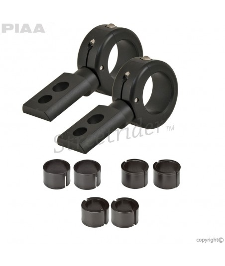 UNIVERSAL BRACKET CLAMPS BLACK for 360° AUXILIARY HEADLIGHTS COLLARS PIAA MOTORCYCLE